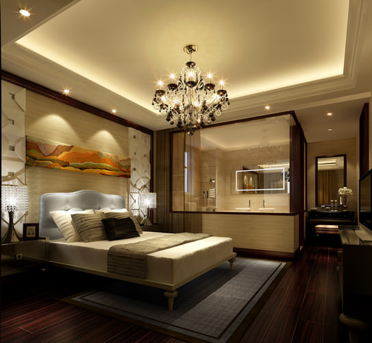 3d bedroom with bathroom luxury cgtrader for Small bedroom with attached bathroom designs