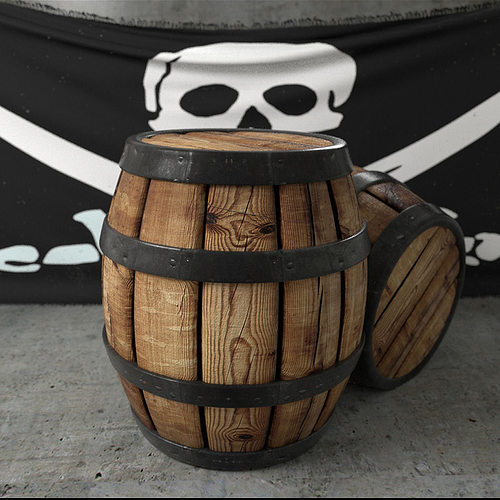 3d Model Pirate Barrel Cgtrader