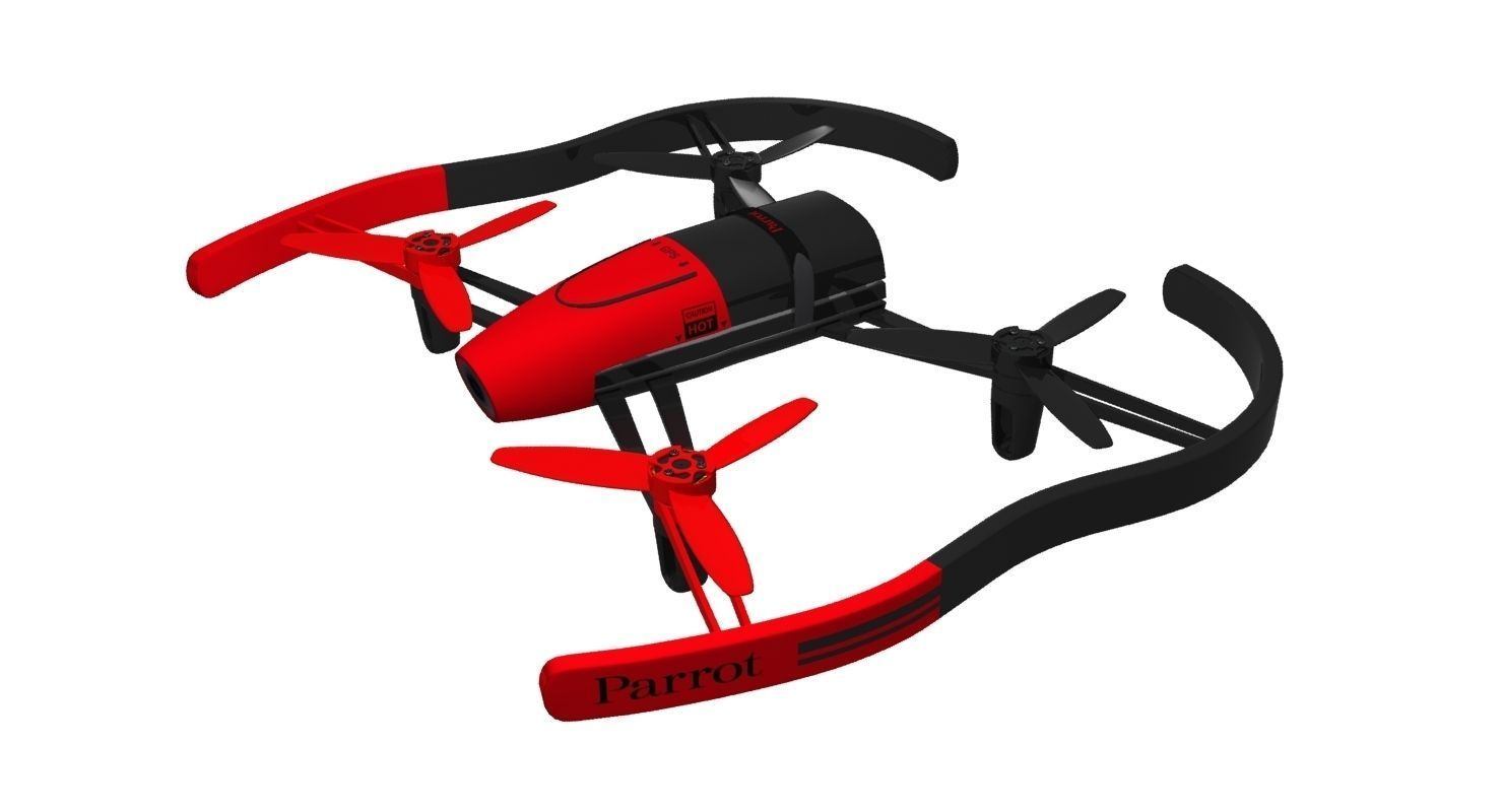 Parrot Bebop Drone Red 3d Model Max Obj 3ds Fbx Mtl 1