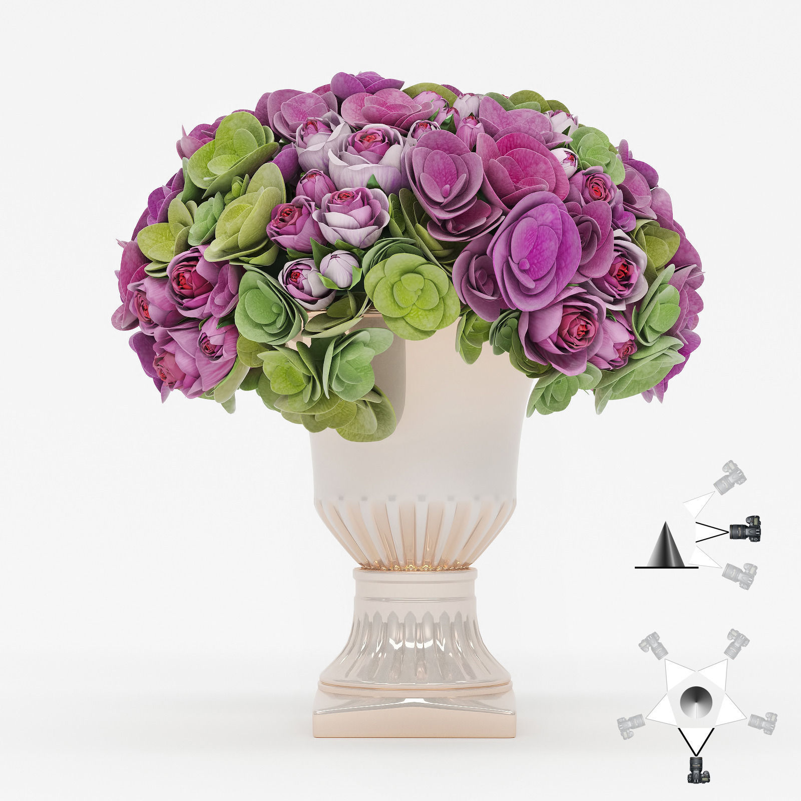 3D Bouquet of roses and hydrangea flowers | CGTrader