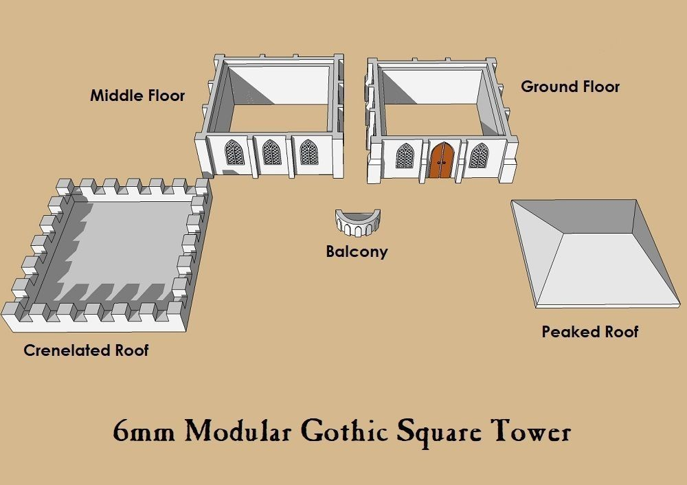 6mm or 8mm Modular Gothic Square Tower