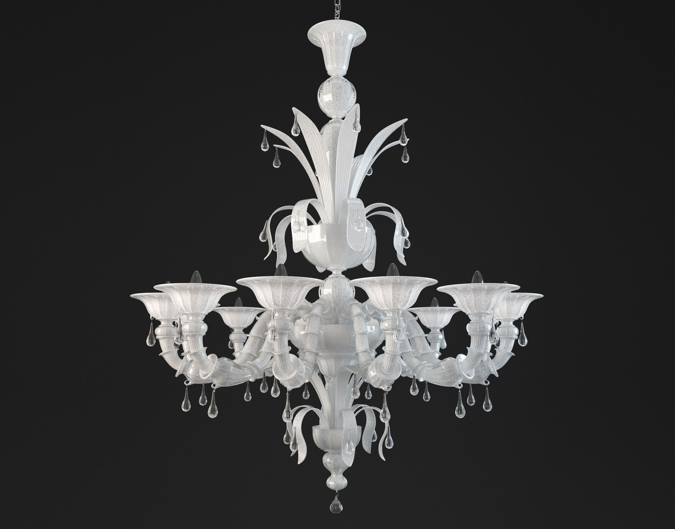 Paradiso White Murano Glass Chandelier 3d Model Max Obj Mtl 1