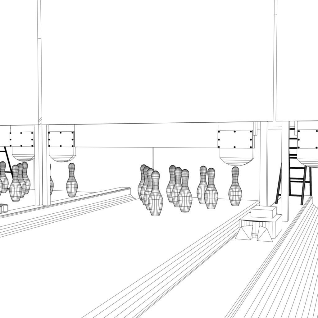 3d model bowling alley vr    ar    low
