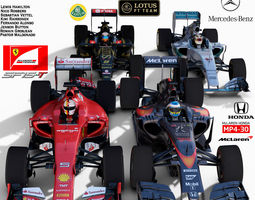 pack f1 cars 2015 low-poly 3d model rigged