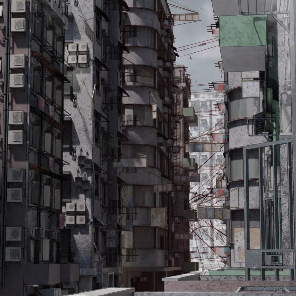 Old buildings apocalypse Hong Kong inspired Kowloon kitbash