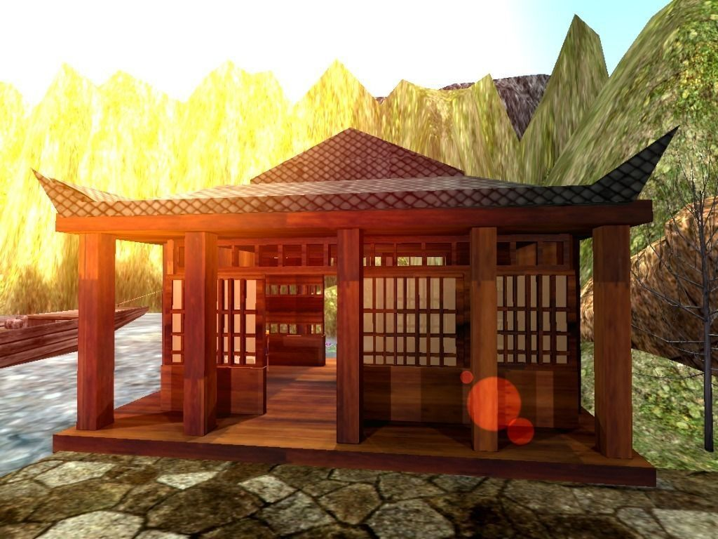 3d model traditional japanese building vr ar low poly for Traditional house building