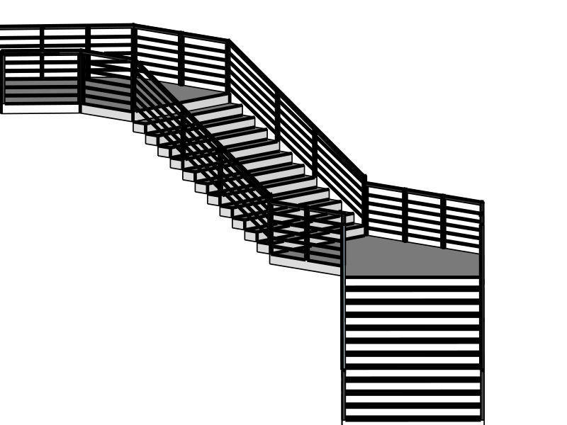 Modern Staircase in minimalist style with two landings
