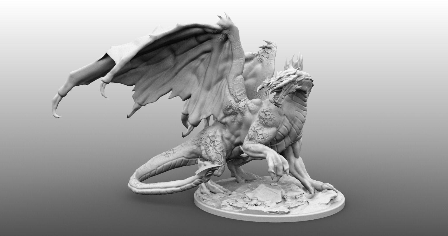 Four Inch Base Black Dragon Miniature