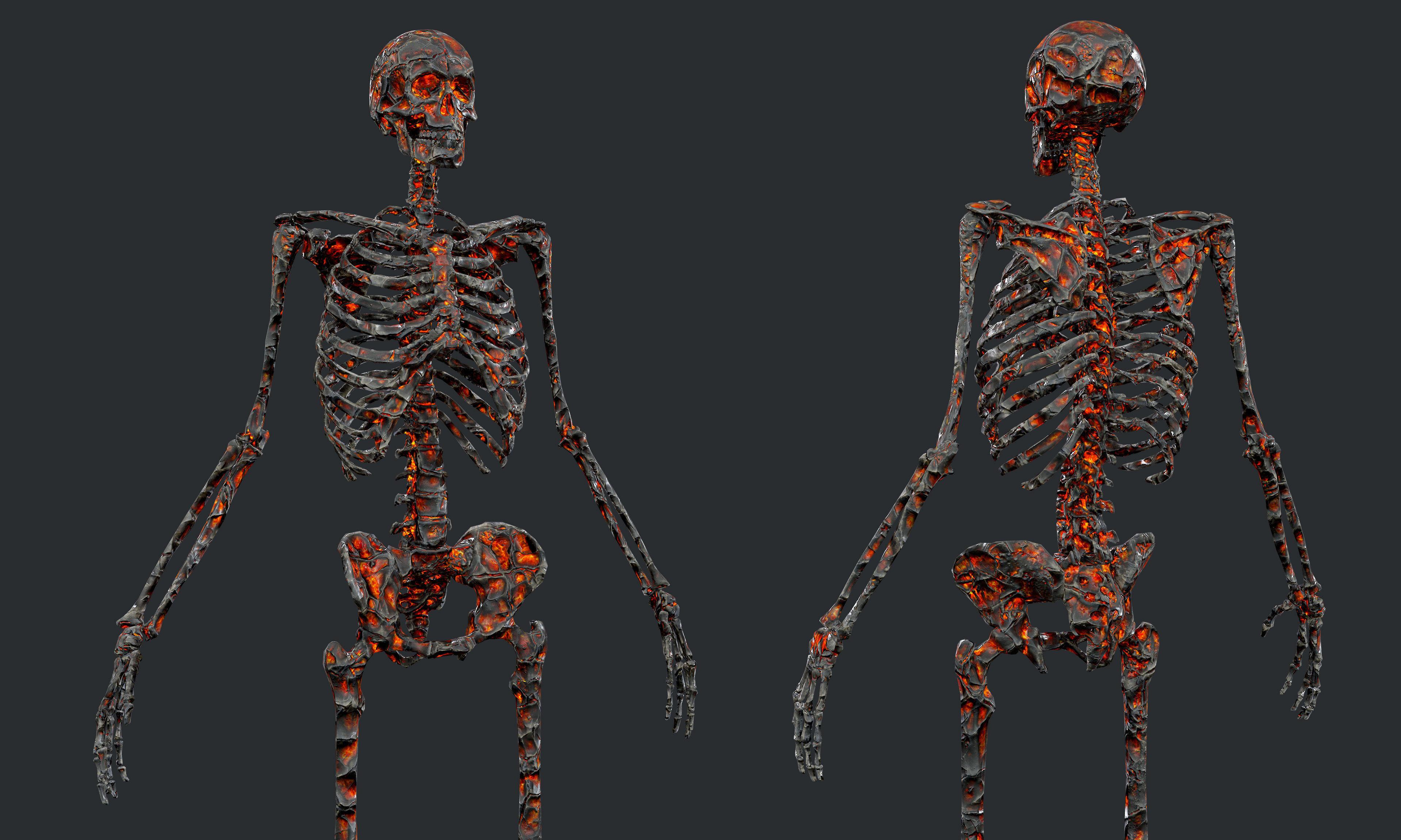 10 Skeleton Burning Lava Pack Game Ready
