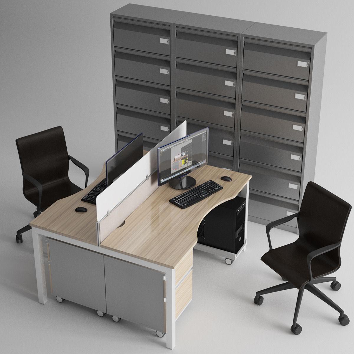 fice Furniture 3D Model MAX FBX