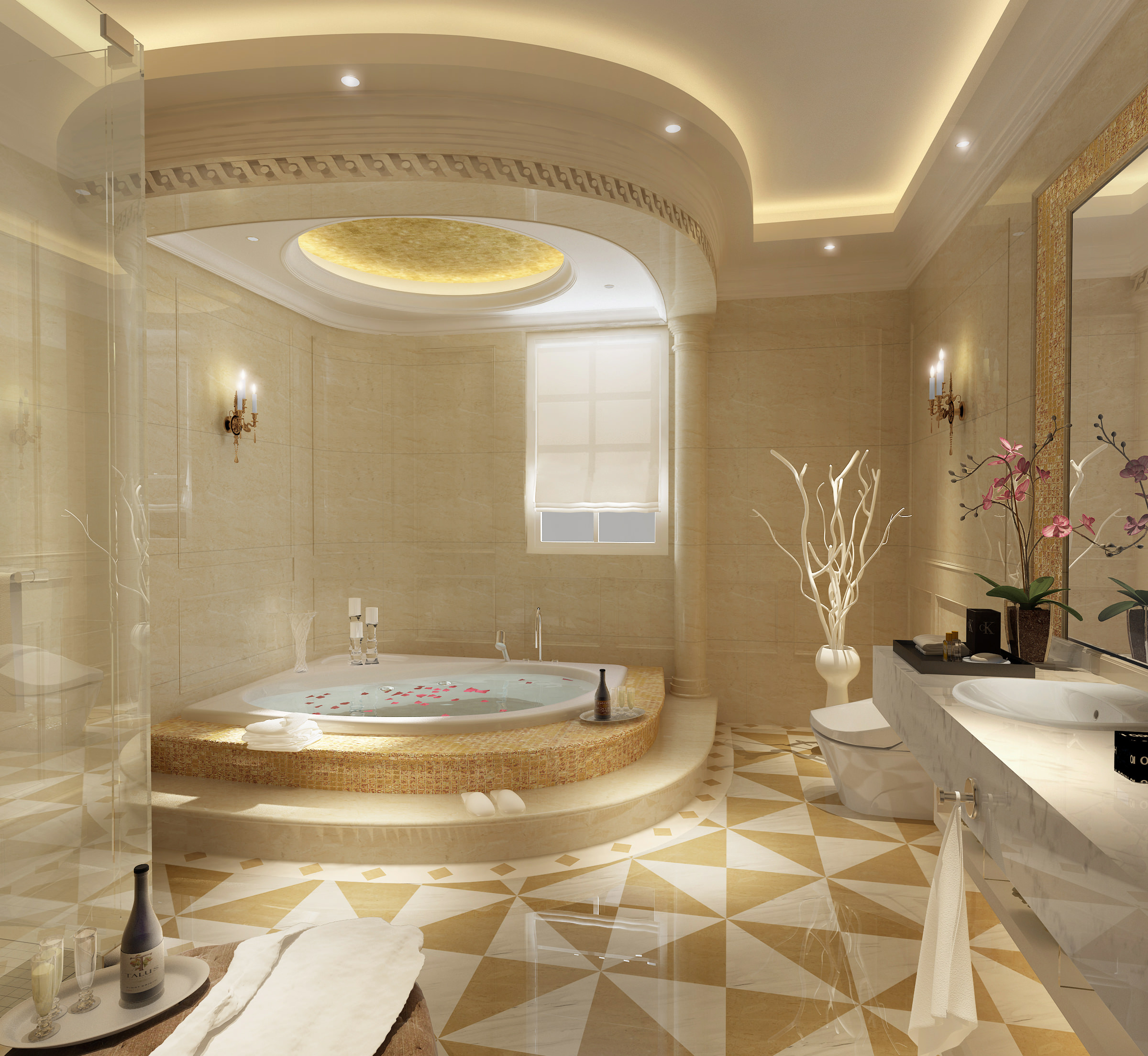 Luxury bathroom 3d model max Most beautiful small bathrooms