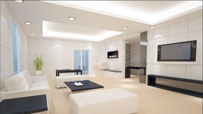 Modern luxury living room design 3D model   CGTrader