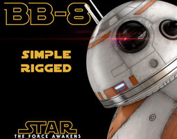 bb-8 star wars droid simple rigged 3d model
