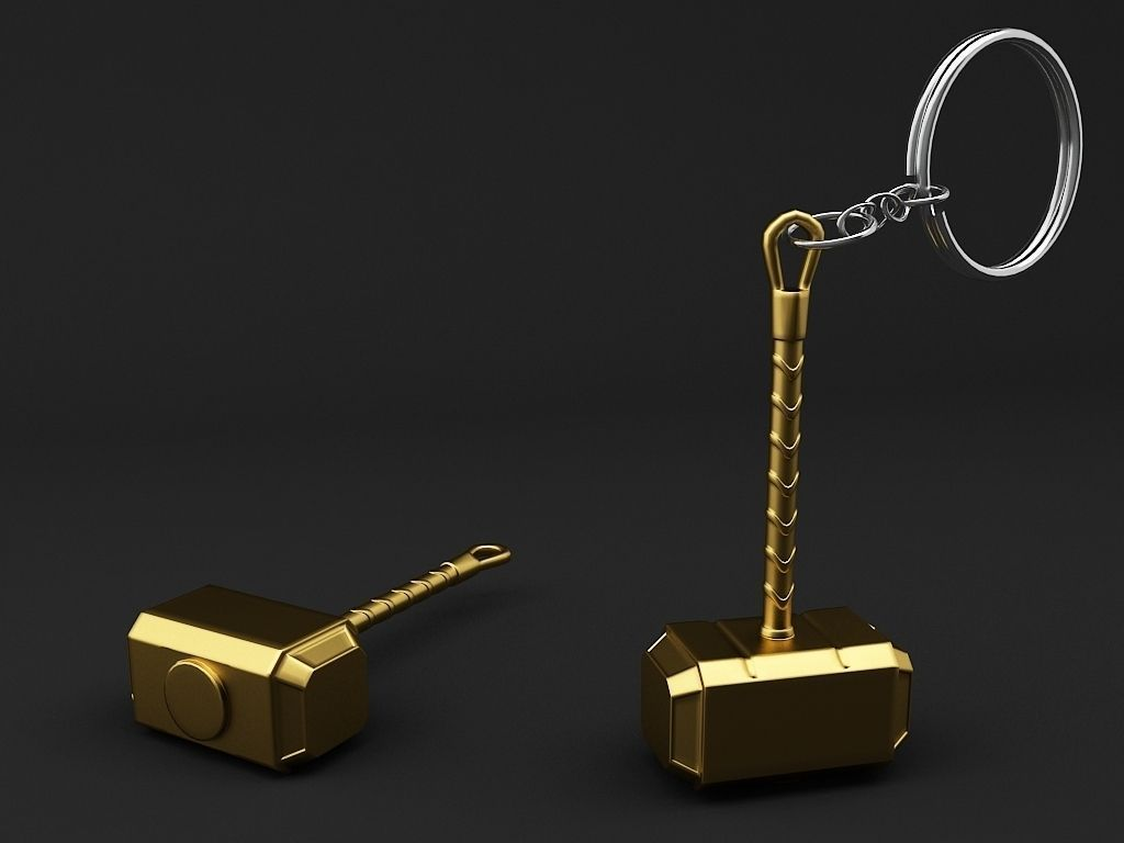 hammer key chain 3d printable model cgtrader