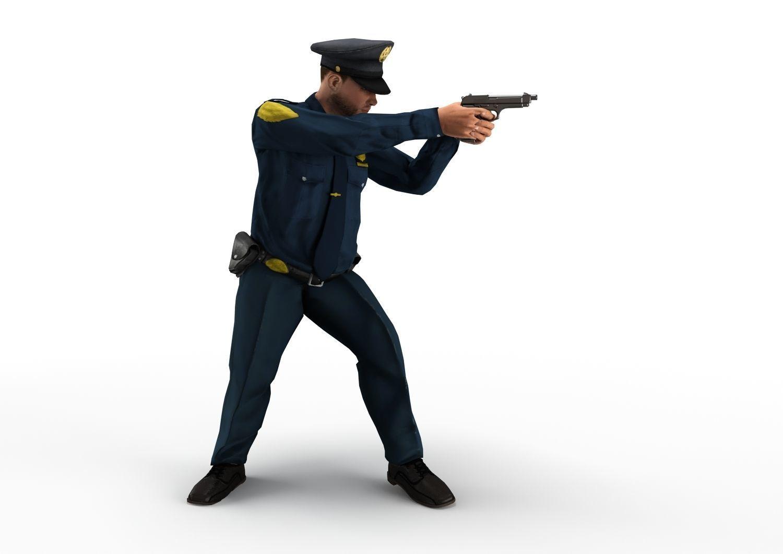 policeman gun in hand ready to shoot