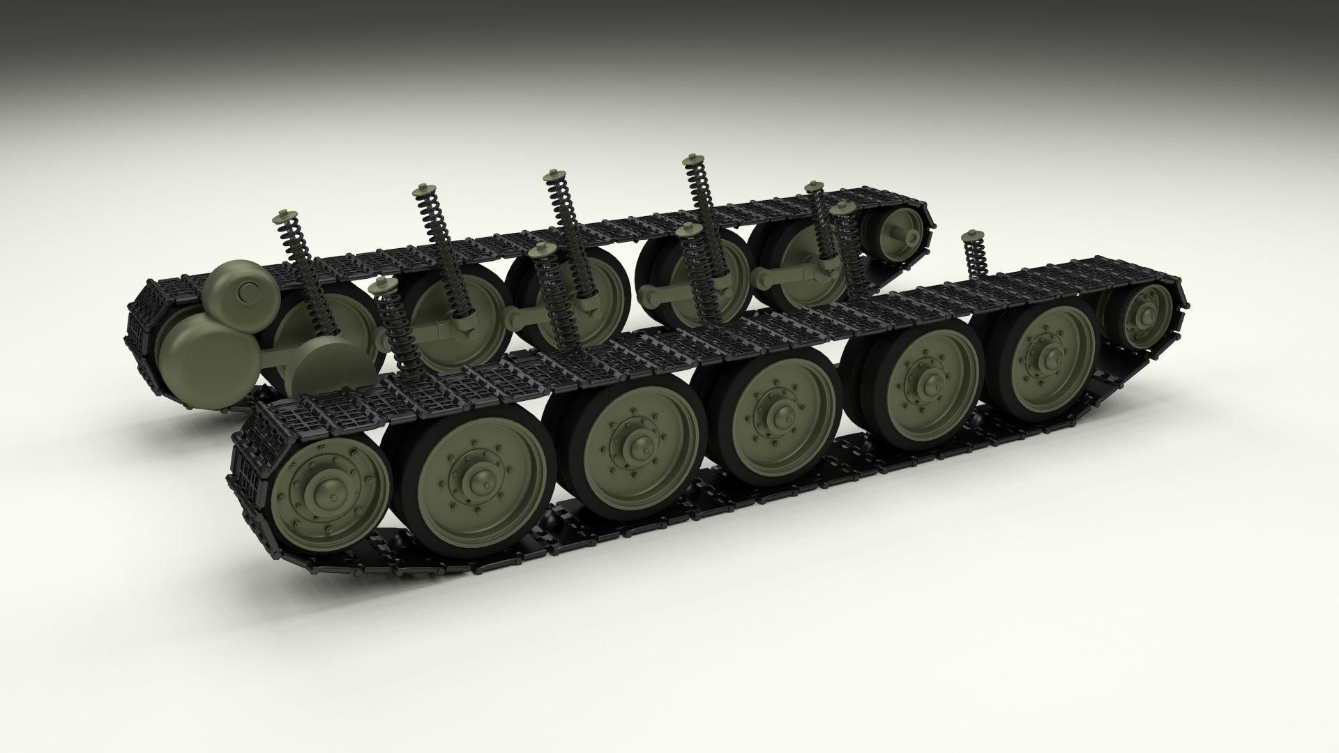 Car Trader Online >> T-34 Tank Tracks and Suspension 3D Model OBJ FBX STL BLEND DAE MTL   CGTrader.com