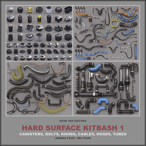 hard surface kitbash library 3d model max obj stl mtl 1