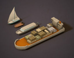 3D model Pack of low poly Boats