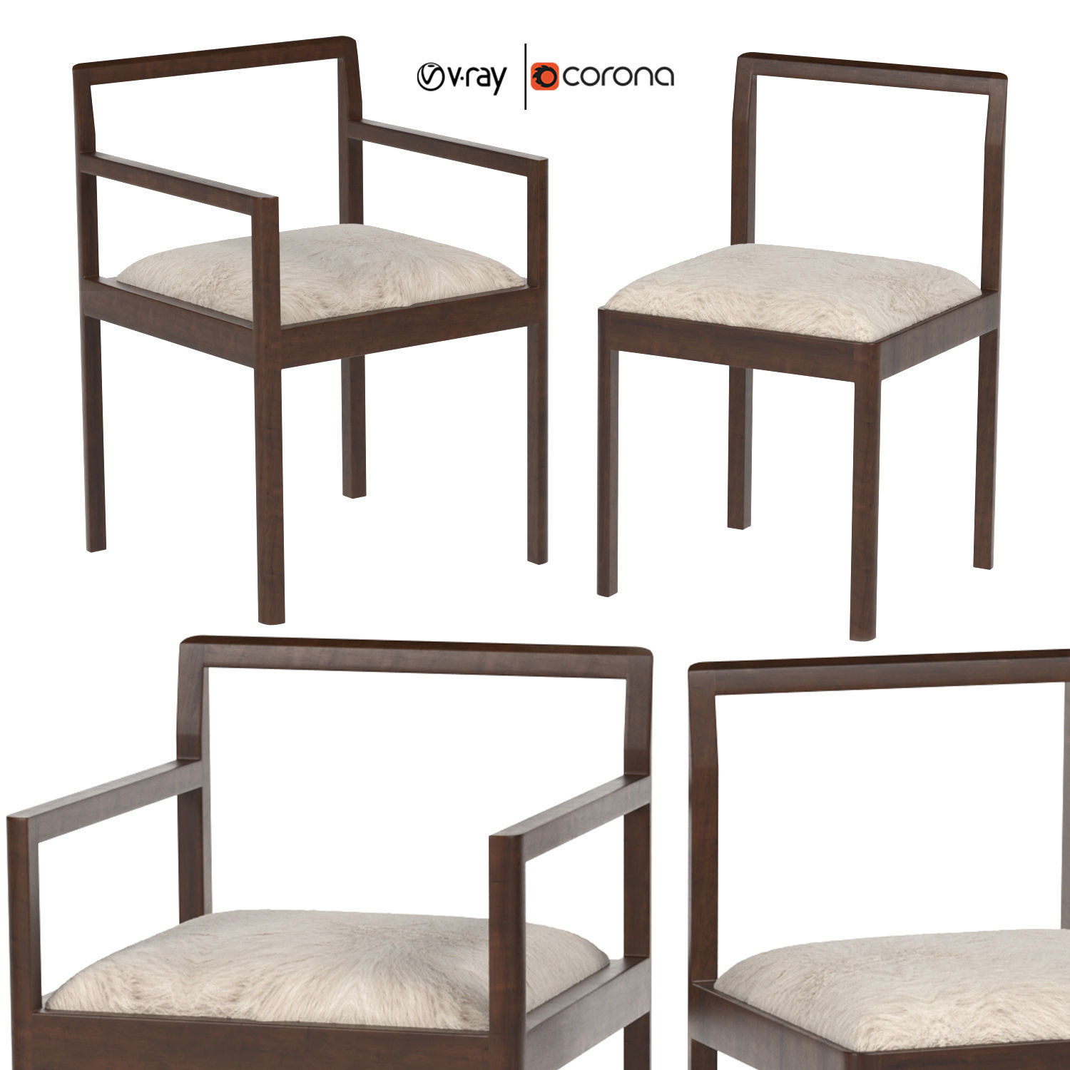 Densen armchair and dining chair 3D | CGTrader