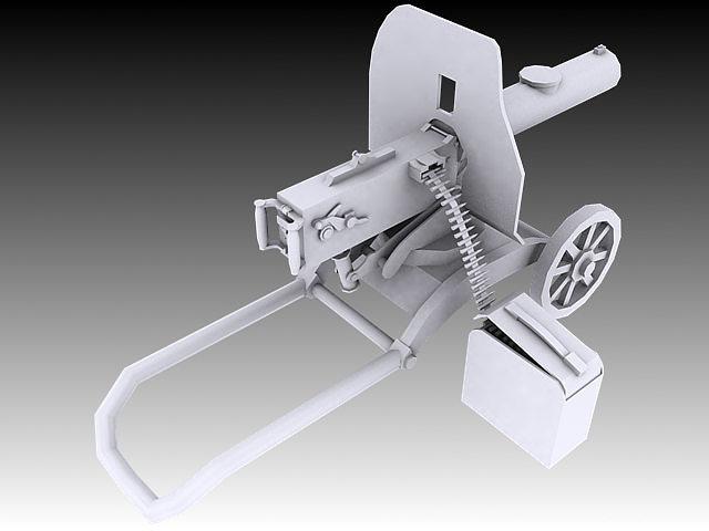 1910 maxim machine gun 3d model max obj 3ds stl wrl wrz 2