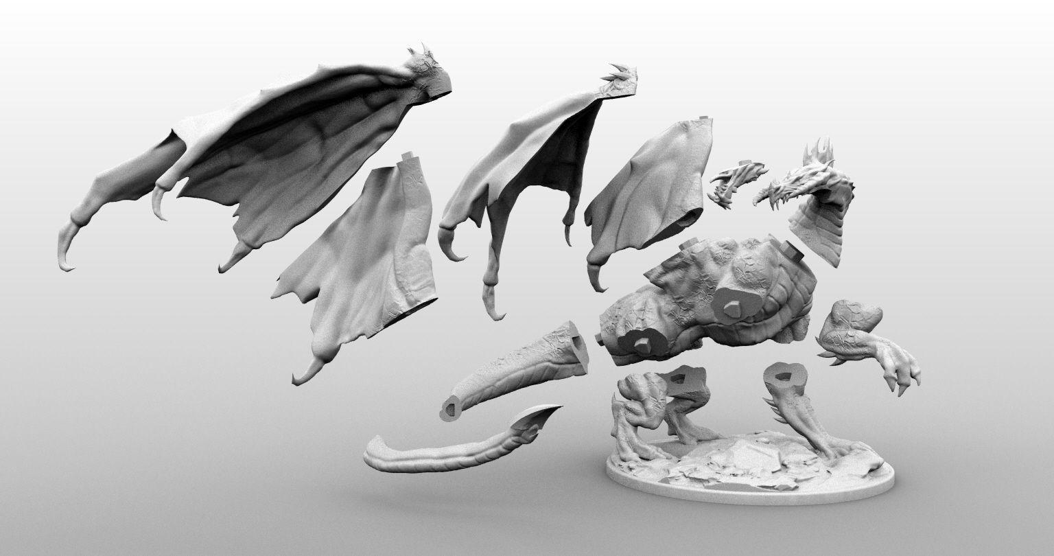 High Resolution Black Dragon Miniature