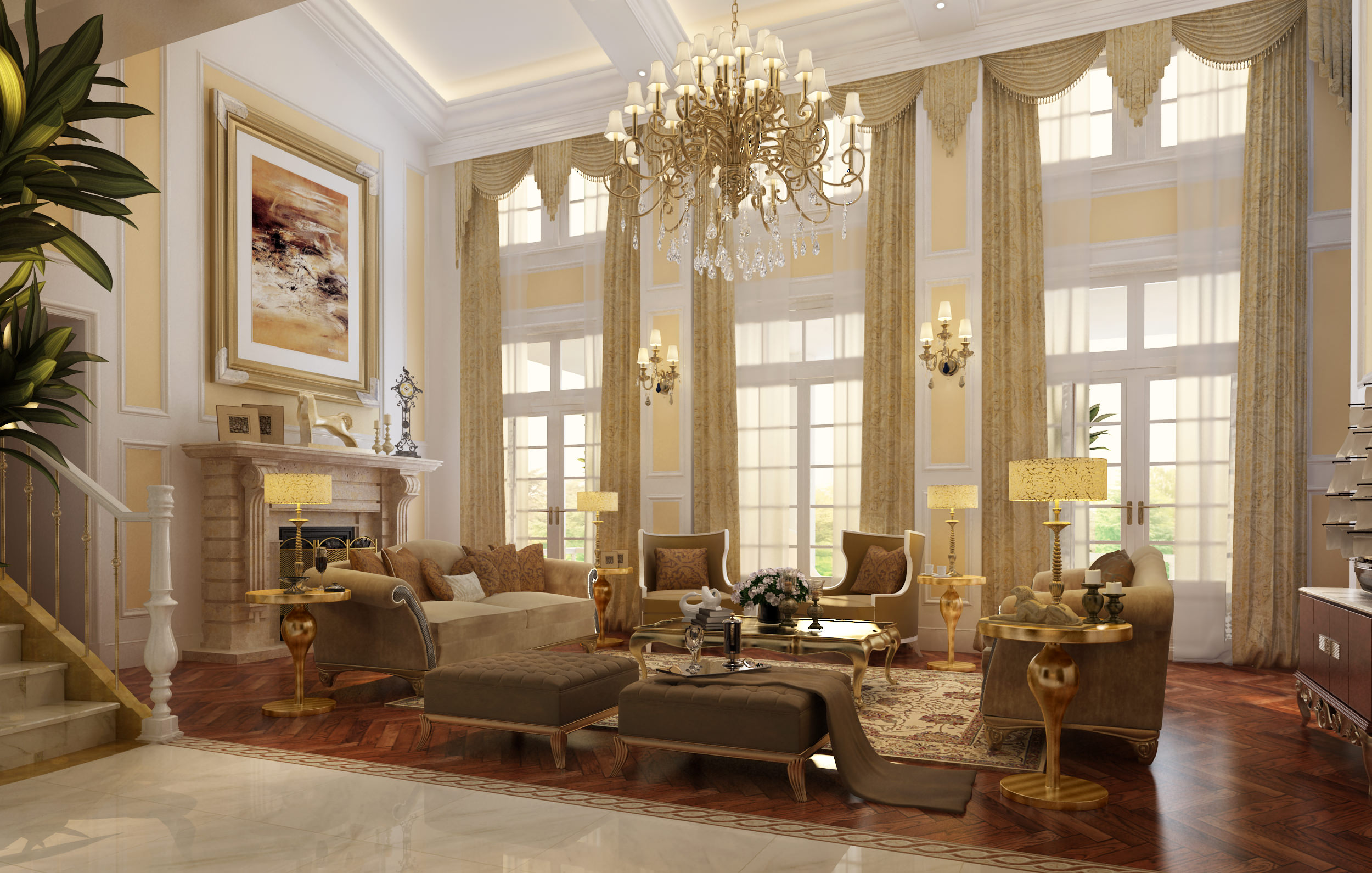 Luxury Living Rooms Furniture Plans Extraordinary Luxury Living Room With Fireplace 3D Model  Cgtrader Inspiration