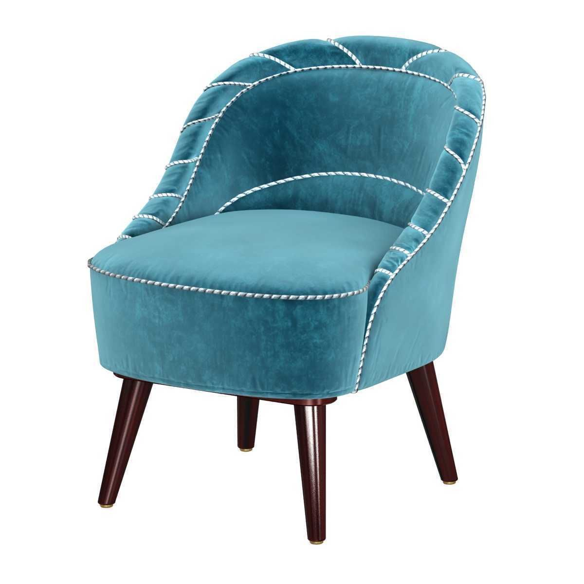 SMALL DANISH MID-CENTURY SLIPPER CHAIR IN TURQUOISE MOHAIR