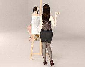 Akari painter and Mariko nude model chair