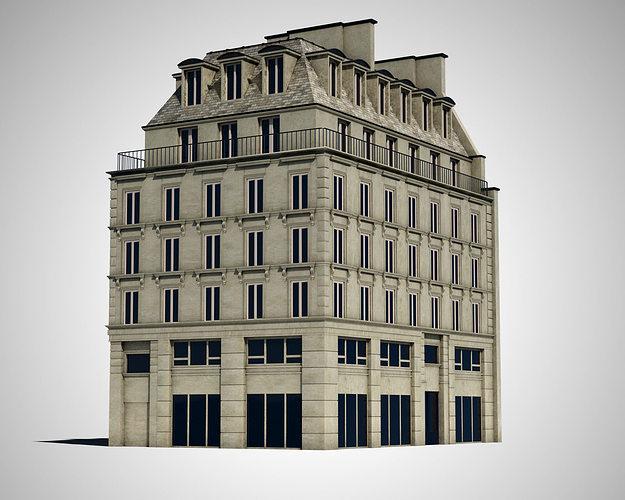 paris house 3d model cgtrader. Black Bedroom Furniture Sets. Home Design Ideas