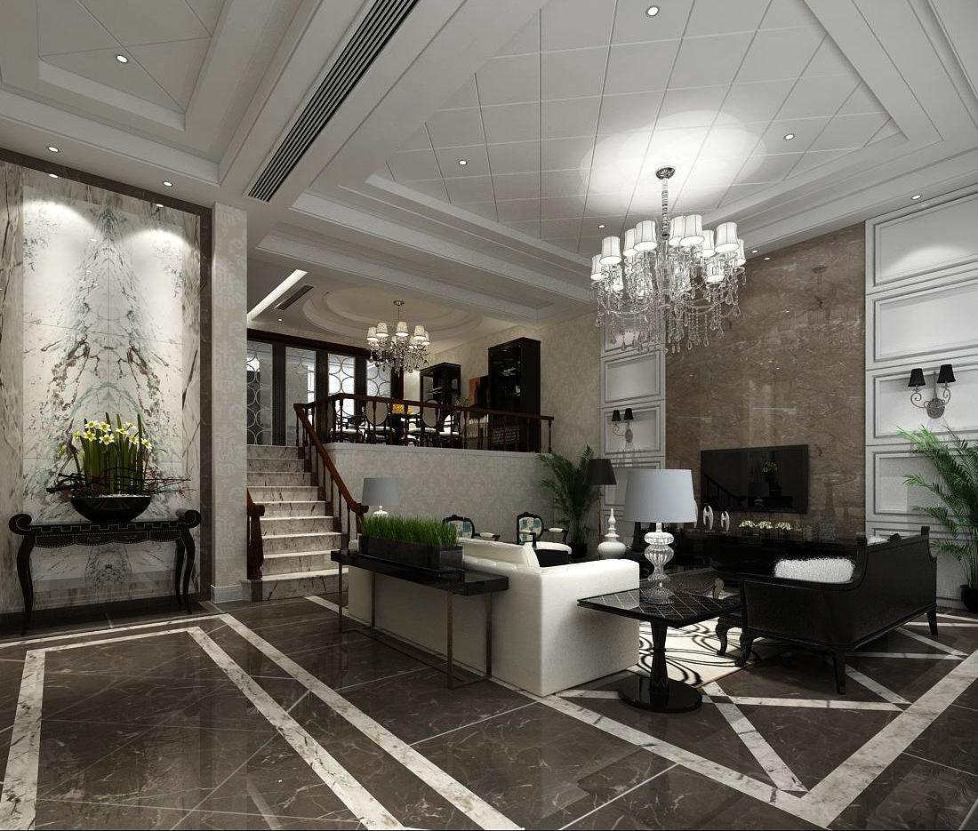 3D Fashion luxury villa reception living room - 96