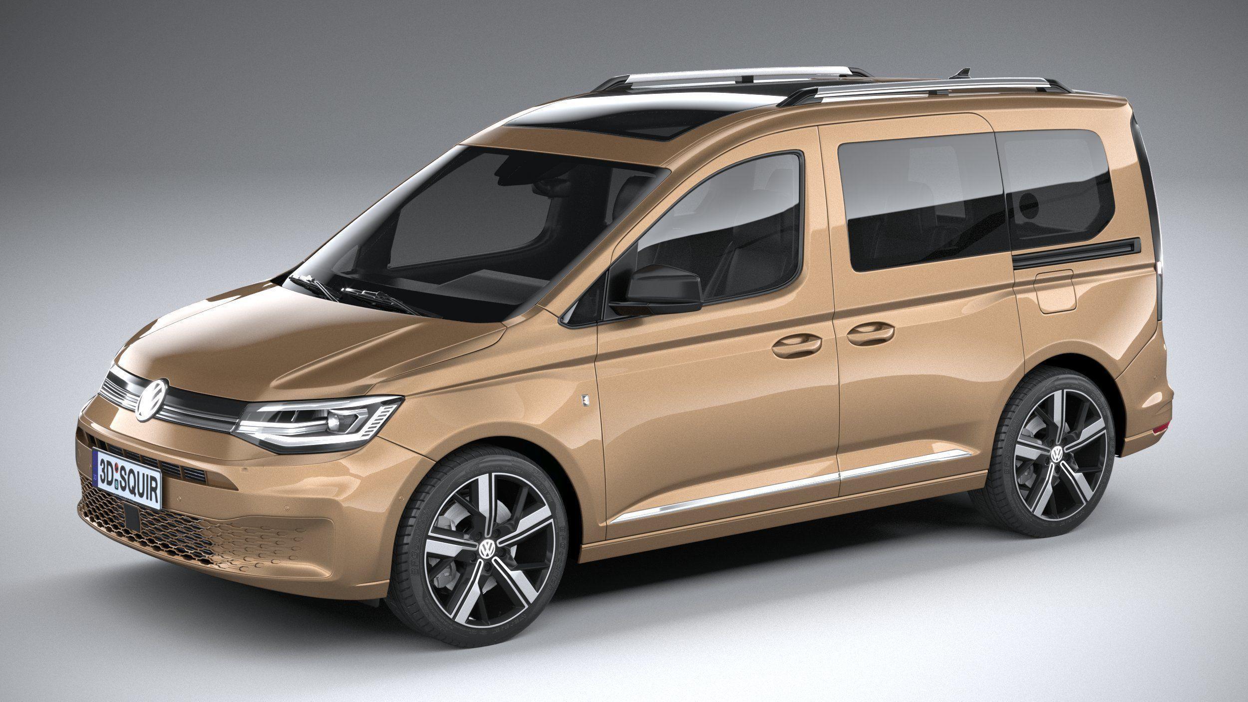 Volkswagen Caddy 2021 3D model MAX OBJ 3DS FBX C4D LWO