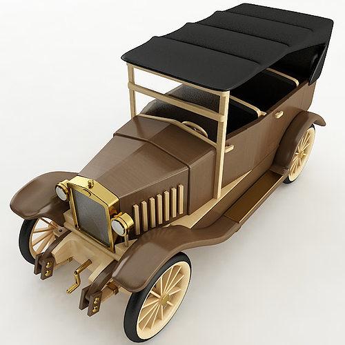 vintage wood car 3d model max obj mtl 3ds fbx stl wrl wrz 1