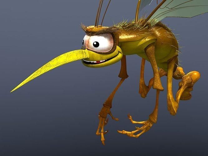 mosquito cartoon 3d model max obj fbx 1