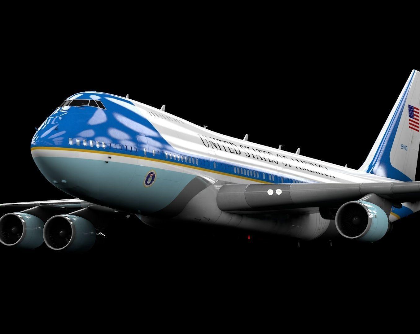 Boeing 747-400 Air Force One Model -  C4d-Fbx-Maya-Obj