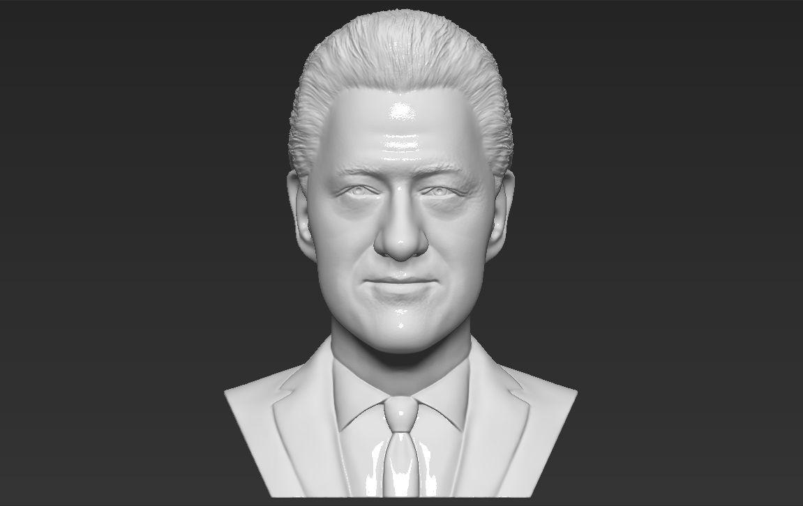 President Bill Clinton bust 3D printing ready stl obj formats