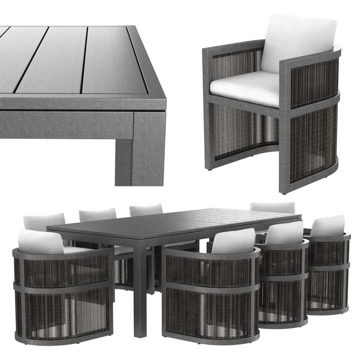 Restoration Hardware Capri ALUMINUM ARMCHAIR  and  DINING TABLE