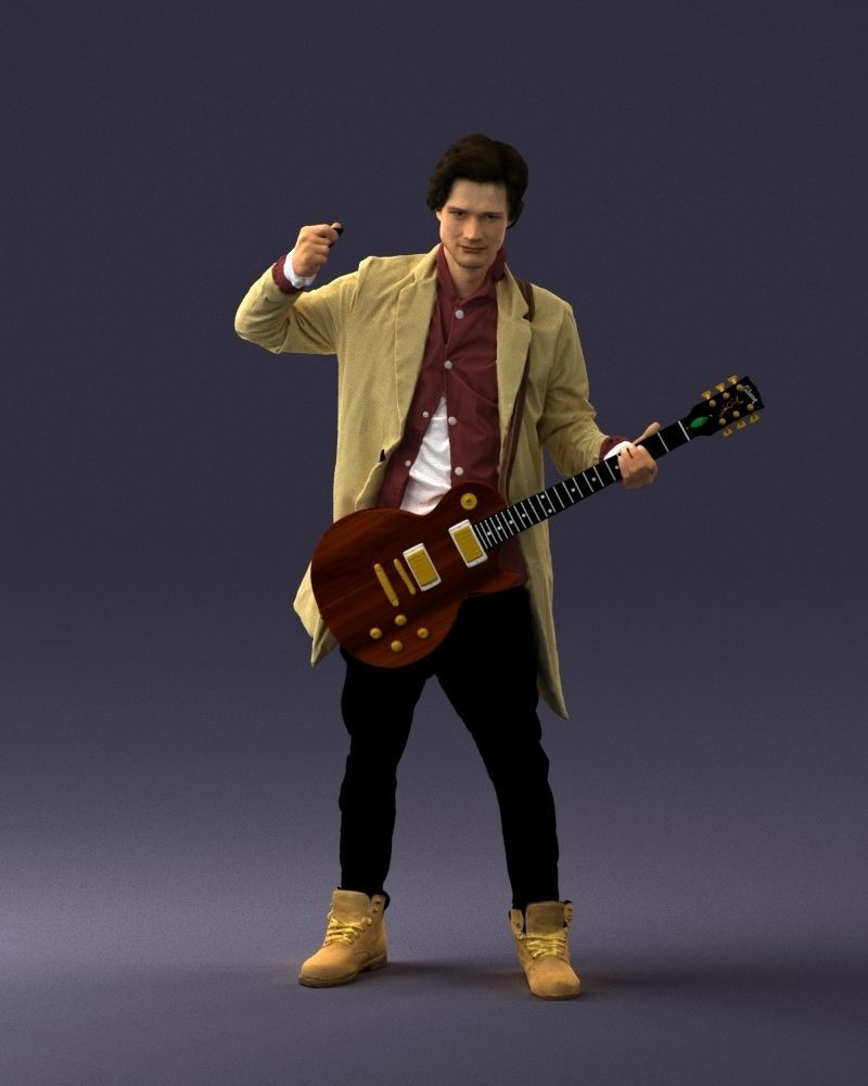 Musician 0118-1 Electric guitar 3D Print Ready