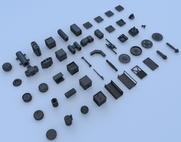 low-poly technical parts collection 3 3d asset