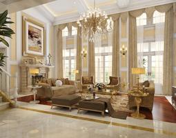 Huge luxury living room 3D
