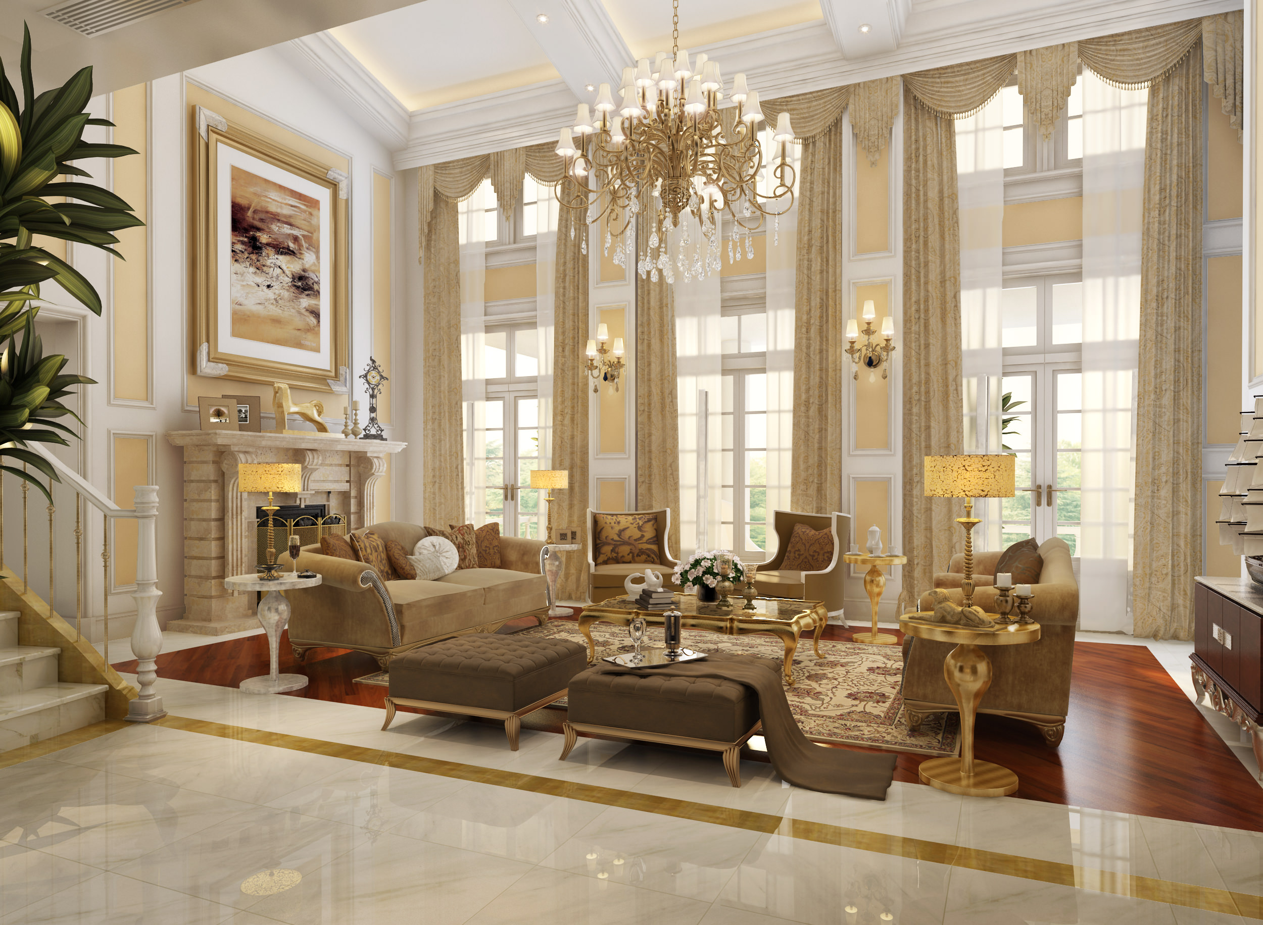 Luxury Living Room Huge Luxury Living Room 3d Model Max Cgtradercom