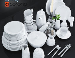 low-poly a set of dishes and kitchen appliances 3d model