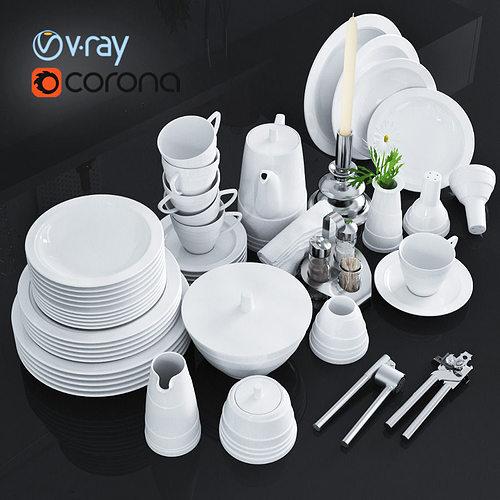 a set of dishes and kitchen appliances 3d model max obj fbx mtl 1