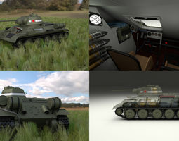 3D T-34 76 Interior Engine Bay Full HDRI