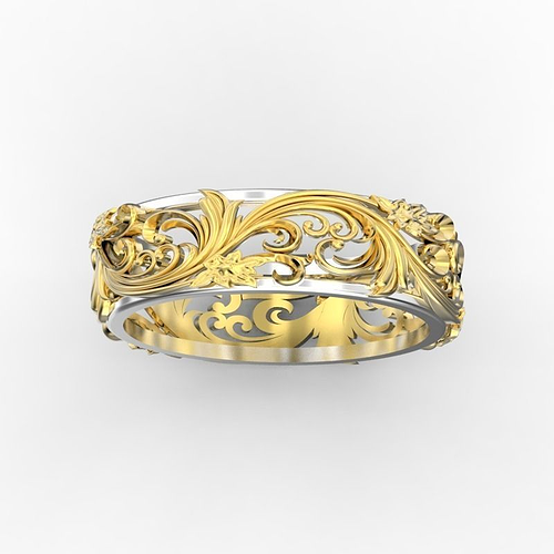 ring with floral ornament 3 3d model stl 3dm 1