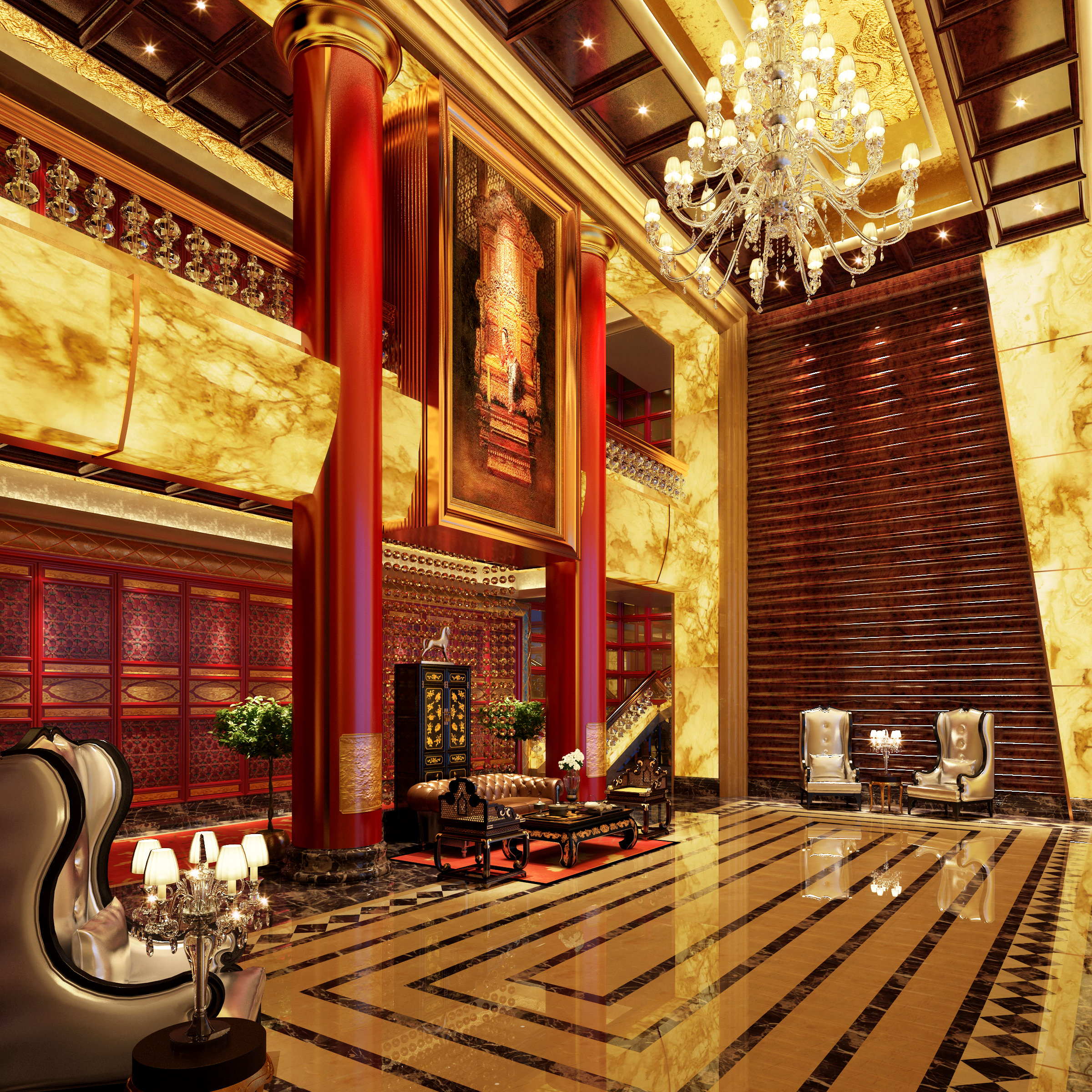 3d rendering luxury hotel lobby china luxury china hotel lobby - 3d Model Luxury Lobby