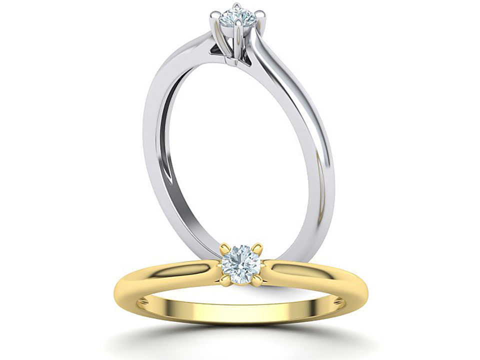 Solitaire ring 3mm round stone 4prong setting