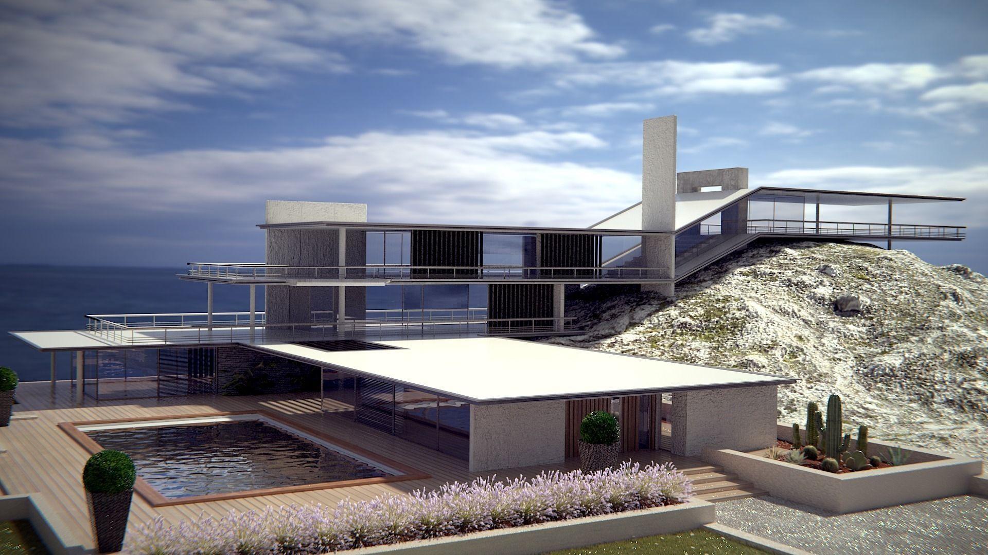 Modern style original sea House 3D Model BLND  Grader.com - ^