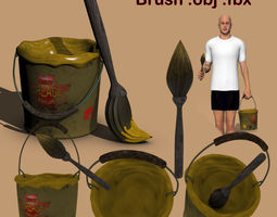 Grease Bucket and Brush ob fbx 3D model