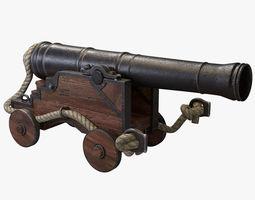 naval cannon 3d model obj 3ds fbx blend dae mtl
