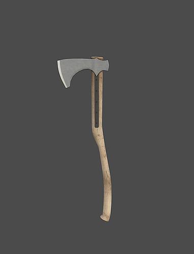 battle axe 3d model low-poly obj fbx mtl tga 1